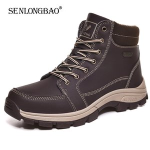 New Winter Men keep Warm Plush Snow Boots Men Casual Shoes Waterproof Work Shoes Outdoor Men Lace-Up Ankle Boots Big Size 39-48 201026