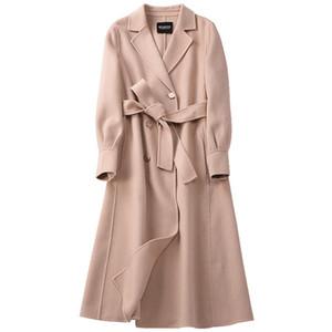 2020 Manteaux en laine dames avec ceinture Womens Noir Pink Wool Couvercline Décolleté à revers Jeunes de laine hivernale X-Long Hiver