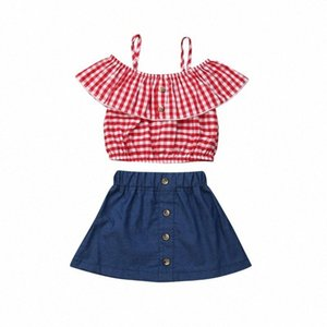 Baby Girl Red Plaid Sling Ruffled Топ Джинсовый Короткие юбки 2Pcs Одежда Набор малышей Детская Outfit лето rWCc #