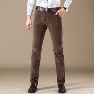 Shan Bao Corduroy Cómodo algodón recto delgado pantalones casuales otoño / invierno marca ropa de negocios pantalones ajustados para hombres 20128