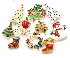 Enamel Snowman Santa Tree Brooch Pin Christmas Gifts Jingle Bell Boots Brooches Charm Crystal Christmas Gift