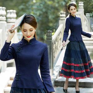 Traditional chinese blouse shirt tops women mandarin collar oriental shirts blouses female elegant cheongsam top vestido chino