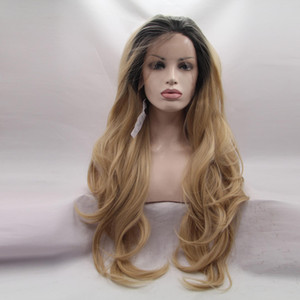 Long Ombre Color Lace Front slight Body Wave Synthetic Wigs Natural looking with soft handfeeling wholesale price