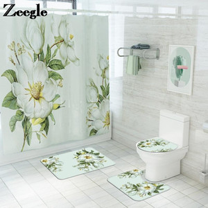 Tapis de bain Tapis de salle de bain Floral Tapis Douche Chambre Toilette Plancher Tapis Couverture de siège Non-Slip Set avec rideau