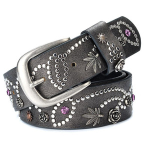 Women Fashion Rivet PU Belt Faux Leather Rhinestone Flower Luxury Buckle Belts Vintage Casual Waistband Jeans Accessories 110cm