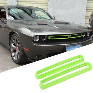 Yeşil Araba Ön Mesh Gril Ön Menfezler Dekorasyon Halka İçin Dodge Challenger 2015 UP Araba Şekillendirme Araç İç Aksesuar