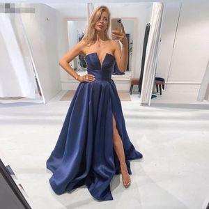 Безтепень маленький V-образные шеи сексуальные выпускные платья боковой сплит длинный сатин Vestidos de Novia Zipper назад невеста формальный случай вечеринка вечеринка
