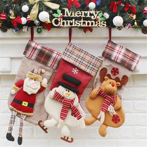 عيد الميلاد جوارب الخيش مع كبير منقوش ندفة الثلج والقطيفة فو الفراء صفعة جوارب لعطلة عائلية حزب عيد الميلاد زينة GWE2434