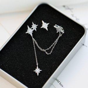 Korean long tassel asymmetric 18k gold plated ear bone clip earrings temperament women high quality S925 silver needle shiny zircon earrings