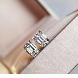 S925 sivler Simple style rectangle shape stud earring with sparkly diamond no fade color for women charm jewelry PS8644
