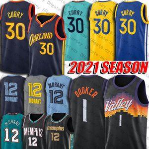 Devin 1 Booker Jersey Chris CP3 Paul Jerseys Stephen 30 Curry Jersey JA Morant Jersey 2021 Temporada Ciudad Steve Charles Nash Barkley Uniforme