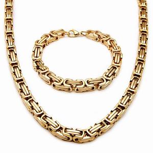 Wholesale 8mm Stainless Steel Mens Necklace Bracelet Set Byzantine Chain Black silver gold color 55CM necklace