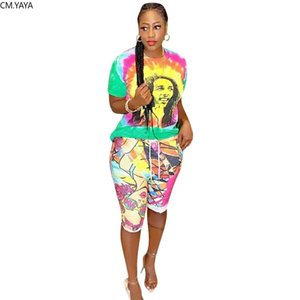 2020 Women new summer tie dye character print t-shirt & knee length pants suit two piece set casual sporting tracksuit GLH1186