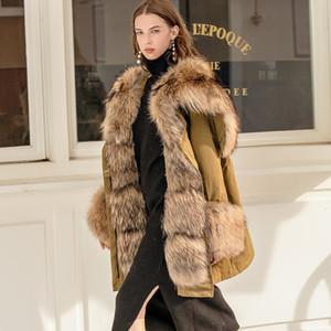 Big Real Raccoon Fox Fur Collar hooded Women Down Jacket 90% White Duck Down Coat Outwear Winter Women's Parka Female Plus Size 201023