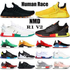 New NMD raça humana tênis Pharrell Williams amarelo núcleo BBC Infinito Espécies R1 V2 carbono negro Red Triple homens brancos as sapatilhas das mulheres