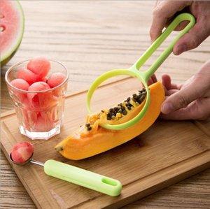 Nuevo dos en uno multifuncional de cocina de ensalada de fruta herramienta, vegetales, frutas, extracto de Fruta, Semilla L Sampler, Sampler, Cuchillo máquina de cortar, la cucharada de color