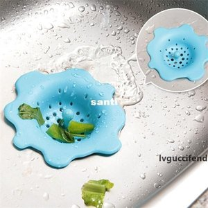 Sink drain flower shape silicone sewer drain handle design hair bath floor filter sink strainer kitchen tool