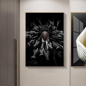 Bandido del mono pintura al óleo sobre lienzo Negro Blanco Divertido Animal Prints Poster pared del arte de la imagen para la sala de estar decoración del hogar