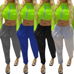 Casual Loose Women Sweatpants Moda com cordão cintura elástica cor sólida Sweatpants Casual Sportswear roupas de grife da mulher