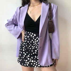 Bella Philosophy Wonder Spring Chaqueta básica Blazer suelto Casual Chic Single Blazer Blazer Vintage Bolsillo Purple Abrigo Outwears x1214