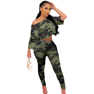 Green Camouflage Print Women Tracksuits Sexy One Shoulder Short Sleeves Slash Neck Short Top + Sweatpants Two Pieces Sports Sets 2021
