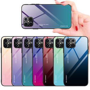 Coloré dégradé cas de téléphone pour iPhone 12 Pro 11 Verre Pro Max Trempé cas pour l'iPhone XR Xs 8 Plus antichocs cas