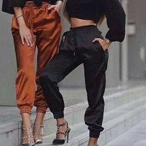 Summer Satin Cargo Pants Women Europe Loose Casual Sport Women Joggers Streetwear Cargo Pants