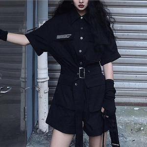TiLeewon Couleur Noir Salopette d'été à manches courtes taille haute Combinaions jambe large Mode droite Femmes Combinaions Solide Couleur