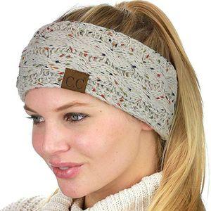 Bandana colorida torção de malha Crochet Headband Inverno Ear Warmer Elastic Faixa de Cabelo Ampla Acessórios de cabelo