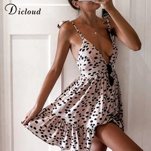 DICLOUD Sexy Leopard Print Summer Beach Dress Women V Neck Polka Dot Pink White Mini Party Sundress Elegant Clothing Female 2020 A1105