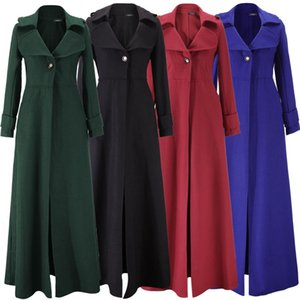 Top Verkauf bodenlangen Mantel-Frauen Neu 2020 Frühling Jacken und Mäntel extralange dünne Wolle-Kaschmir-Mantel Manteau Femme WindbreakerX1020