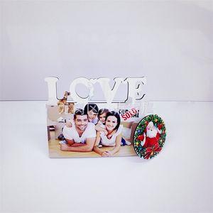 MDF Сублимационные пустые рамки белый DIY Love Picture Frame фото деревянная доска роспись кронштейн прямоугольник дома декор 9 8bd G2