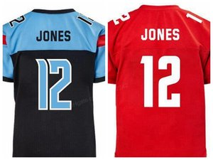 2020 저렴한 사용자 정의 레트로 XFL 팀의 배반자 # 12 랜드 리 존스 DC 수비수 # 12 카데 일 존스 축구 유니폼 남성의 모든 스티치 레드 블루