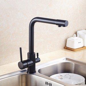 Three Way Lavello Miscelatore 3 vie filtro per l'acqua di rubinetto in ottone verniciato nero 3 rubinetto della cucina 360 Rotating nero Kitchen Sink Miscelatore aqan #