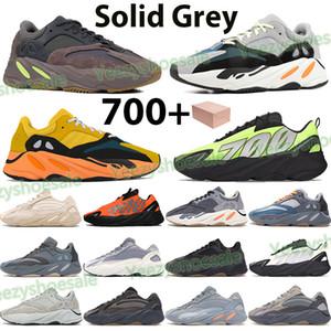 Yeni 700 Yansıtıcı Erkek Koşu Ayakkabıları Fosfor Güneş Kemik Turuncu Katı Gri Karbon Teal Mavi Üçlü Siyah Kadın Spor Eğitmenleri Sneakers Kutusu
