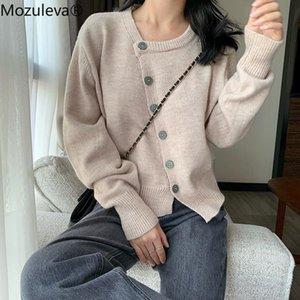 Mozuleva New 2020 Autumn Winter Women Sweaters Irregular Buttons Cardigans Fashionable Korean Ladies Knitwears Jumpers Knit Coat
