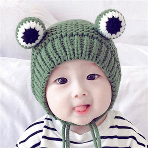 Los niños calientes lindos Rana Gorros de invierno polar de punto Beanie cráneo casquillos de la manera al aire libre para niños Crochet el casquillo gorras de camionero orejeras para 6M-2Y LY1014