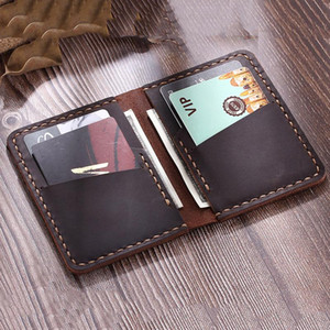 Men Credit ID Card Holders Handmade Rustic Crazy Horse Leather Wallet for Cards Genuine Leather Bank Cardholder