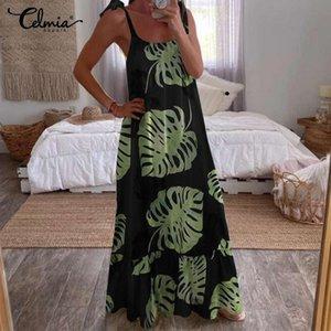 Women Maxi Dress 2020 Celmia Summer Bohemian Printed Long Sundress Sexy Straps Sleeveless Casual Loose Ruffles Party Vestidos 7