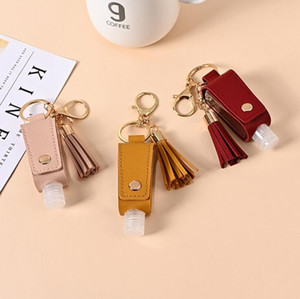 Keychains Empty Hand Sanitizer Bottles Leather Cover Portable Mini Keychain Holder Storage Bags Bottles Keychain IIF5028