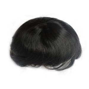 100% human hair toupee natural black thin skin injection hair system for men