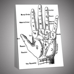 New HD Left Hand Palm Reading Lines Poster Canvas Painting Posters and Prints Wall Art Picture for Living Room Home Décor