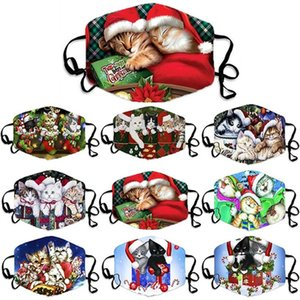 Unisex Merry Christmas Face Mask Cute Cats Printing Mouth Mask Adjustable Washable Reusable Breathable Masks Face Mascara Adults qylIWe