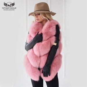 Tatyana Furclub 자연 조끼 코트 여성 진짜 여우 자켓 패션 따뜻한 소녀 모피 201212