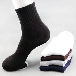 10 adet = 5 Pair / lot Katı Renk Pamuk Erkekler Moda Tüp Çorap Kış Erkek Rahat Iş Nefes