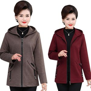 Middle-aged and Elderly Women's Coat 2020 New Spring Hooded Zipper Jacket Plus Size 4XL Autumn Coats Outerwear Mother Dress