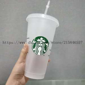 100pcs 24oz Tumblers Plastic Drinking Juice Cup With Lip And Straw Magic Coffee Mug Costom Starbucks plastic Transparent cup