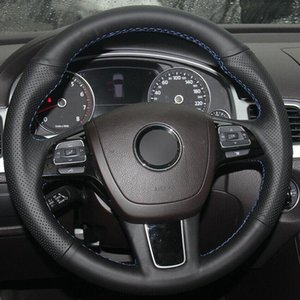For Volkswagen Touareg 2017 DIY black artificial leather customize anti-slipsteering wheel cover for all season comfortable touch