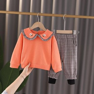 Girls Clothes 2020 Autumn Spring New girls sets lapel Long Sleeve tops + Pants Suits 1 2 3 4 5 years old Kids Clothes
