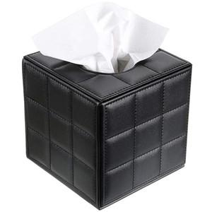 Кожа PU Tissue Box держатель, держатель для салфеток площади Насосные бумаги Дело Диспенсер для лица держатель ткани с магнитной дна для H